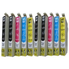 10 komp. Druckerpatronen für Epson XP-30 XP-201 XP-202 XP-205 XP-302 XP-305 XP-402 XP-405 XP-405WH XP-215 XP-225 XP-312 XP-315 XP-322 XP-325 XP-412 XP-415 XP-422 XP-425 XL Version 4x schwarz XL , 2x cyan XL, 2x magenta XL, 2x gelb XL