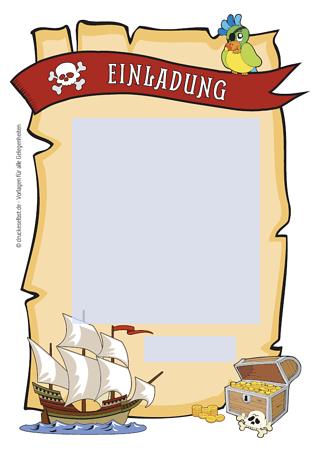 Drucke Selbst Pirateneinladung Mit Lustigem Einladungstext