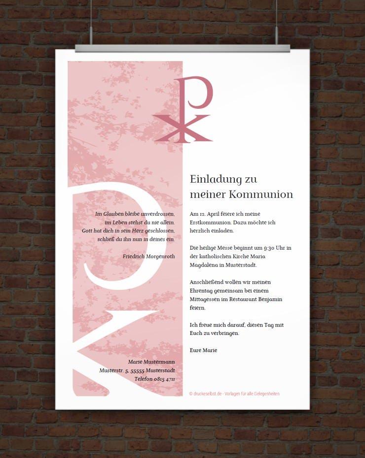 Drucke Selbst Kostenlose Einladung Fr Kommunion Und Firmung