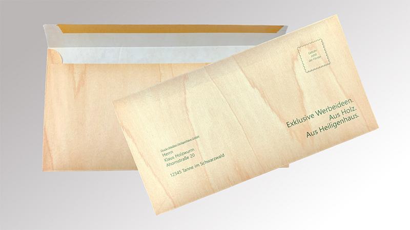 Briefumschläge aus Holz von Druck+Medien Heiligenhaus
