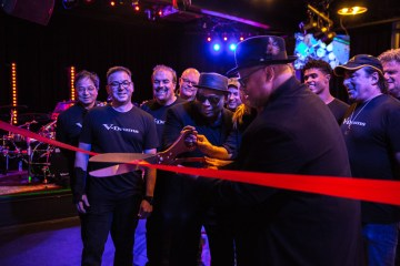 Photo caption 1: Shown L-R at center: Terry Lewis, Leslie Lewis, and Jimmy Jam, cutting the ribbon to inaugurate the official opening of Roland's Los Angeles Artist Relations Center on May 8, 2018.