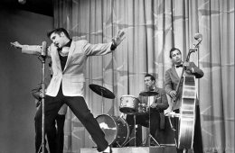 Drummer DJ Fontana with Elvis