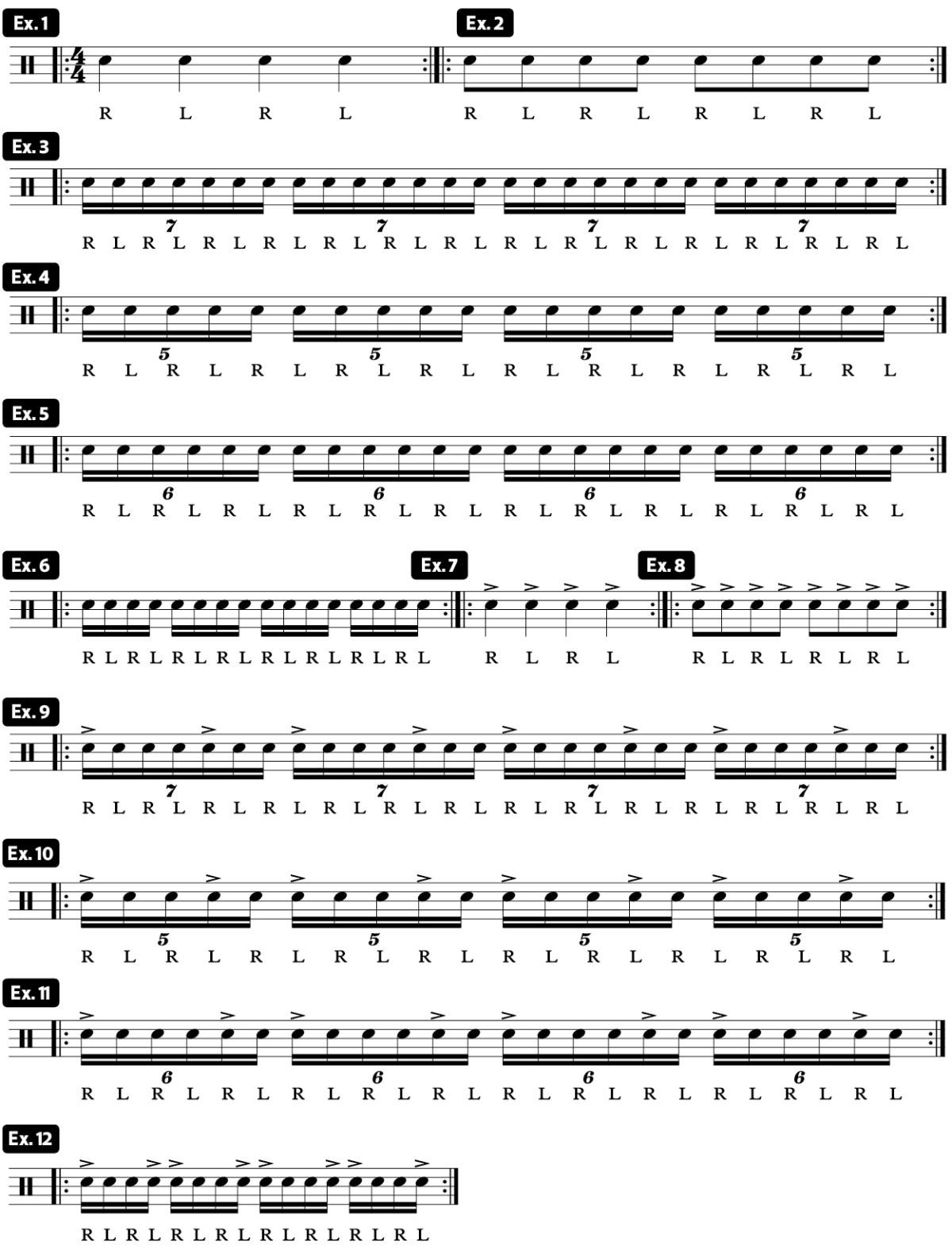 drag beat practice pad drum lesson video ex1-12