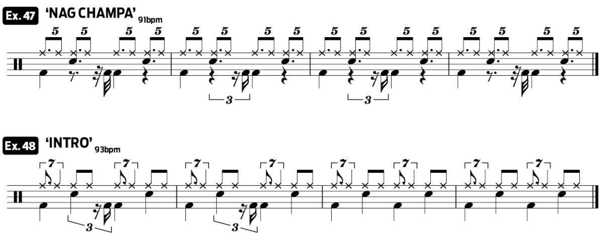 drag beat practice pad drum lesson video ex47_48