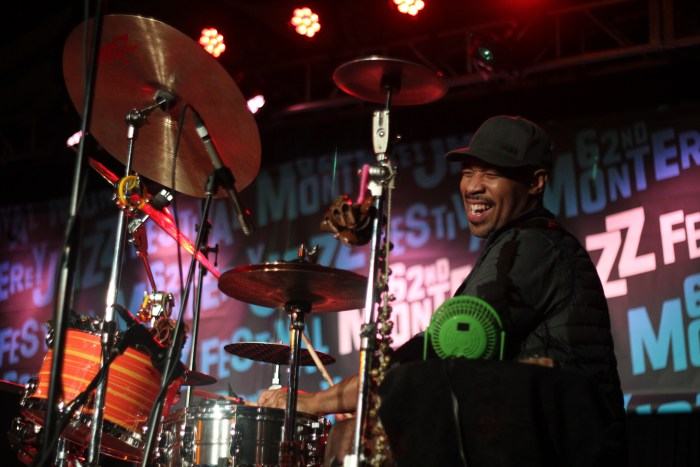 Drummer Eric Harland plays with the Chris Potter Circuits Trio at the 2019 Monterey Jazz Festival