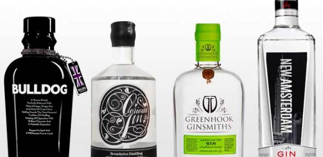 Bottles of Bulldog, Glorious Gin, Greenhook, and New Amsterdam gin