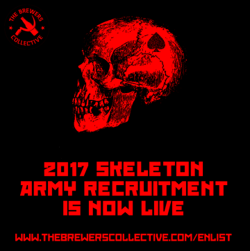 Advertisement for The Brewers Collective 2017 Skeleton Army Recruitment.