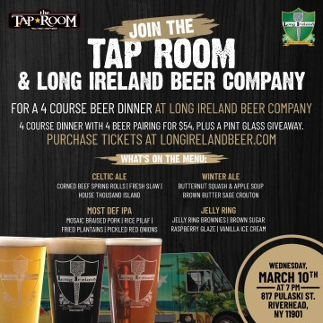 Tap Room and Long Ireland beer pairing dinner