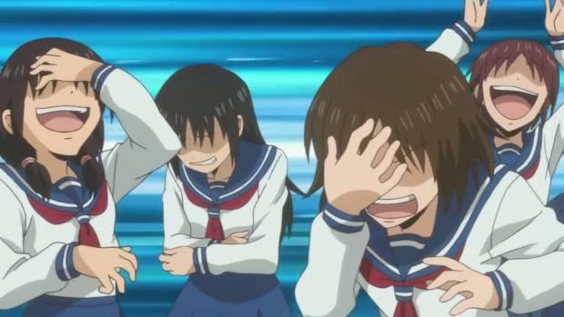 anime girls laughing