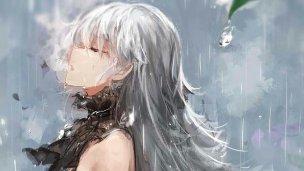 white grey hair anime