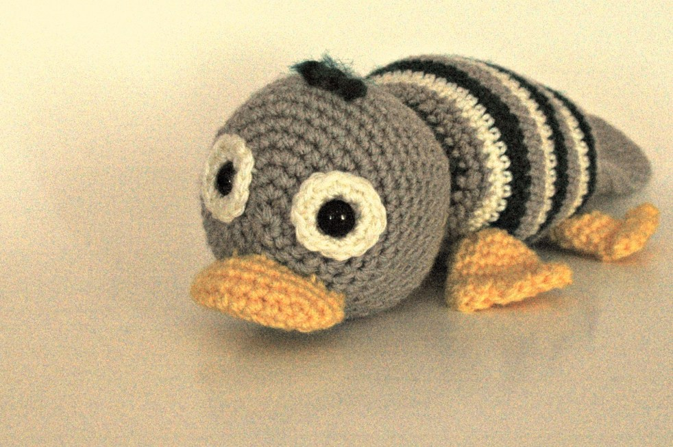 Crocheted adult platypus