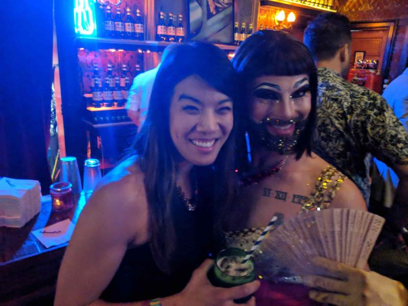 Woman with bearded woman and glitter