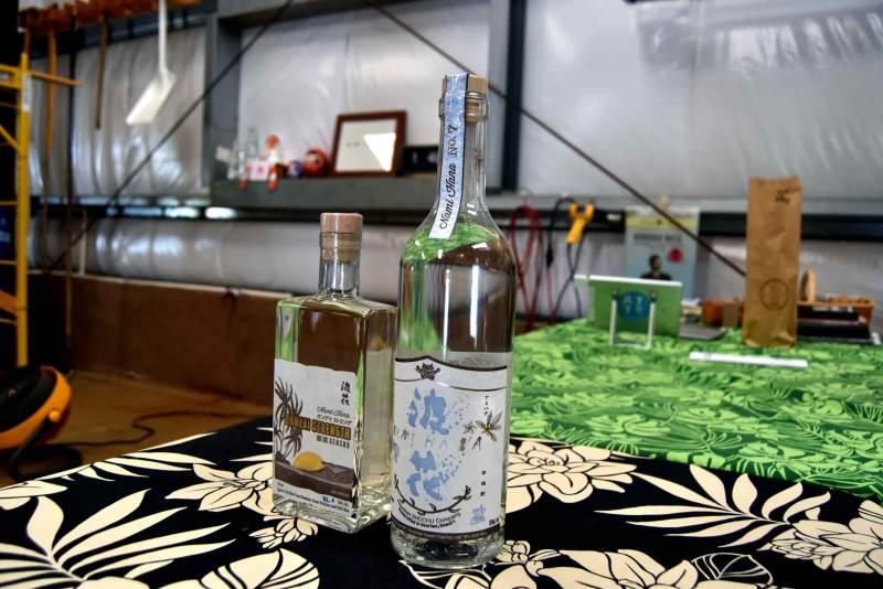 Two shochu bottles, one cask strength