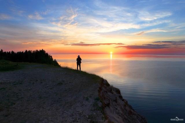 Андома-гора. Закат на Онежском озере.
