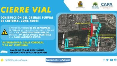Photo of Anuncian cierre vial sobre la avenida Constituyentes por los trabajos del gran canal pluvial de Chetumal