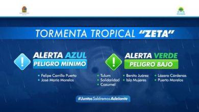 Photo of Alerta Verde para la zona norte de Quintana Roo, por la tormenta tropical 'Zeta'