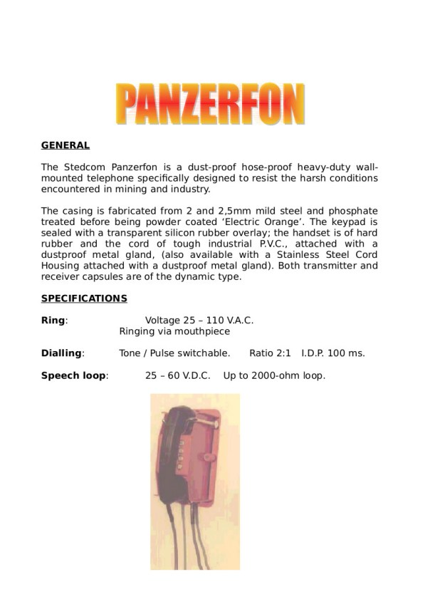 BROCHURE - PANZERFON 08-2003