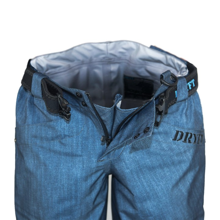 DRYFT SEEKR denim style fishing wading pant front open