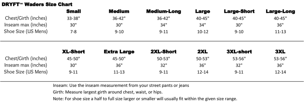 DRYFT waders size chart