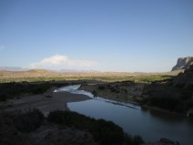 """the Rio Grande flowing SE towards the gulf...that distant thunderstorm cloud...in the humid Gulf air over the Serrianas del Burro, called """"Magic Mountain"""" by weather nerds for it's amazing storm build-ups...intense lowland heating combined with decent mountains forcing all that muggy gulf air to rise...POW!"""