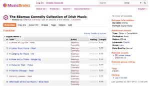 Record for release in MusicBrainz