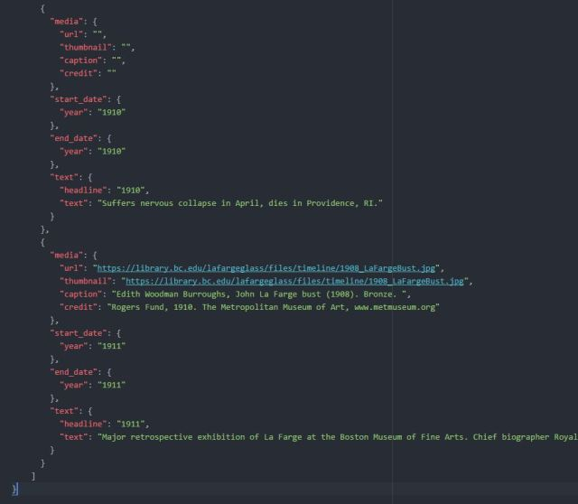 Creating a Timeline with TimelineJS and JSON – Boston