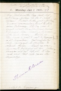 Page 1 of the Thomas D. Craven Diary