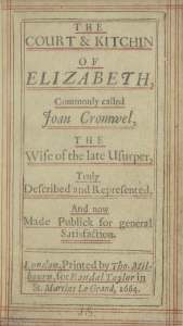 Title page from The court & kitchin of Elizabeth, commonly called Joan Cromwel (1664)