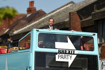 Nigel Farage en campagne, ce 13 mai 2019 à Pontefract, au nord ouest de l'Angleterre