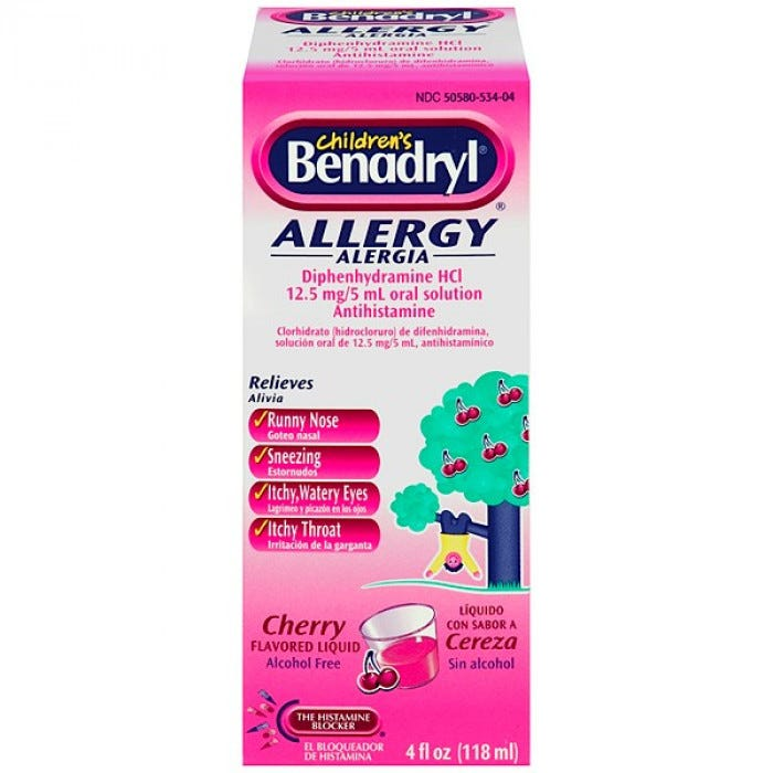 Children's Benadryl - Allergy Liquid Medication, Cherry Flavor ...