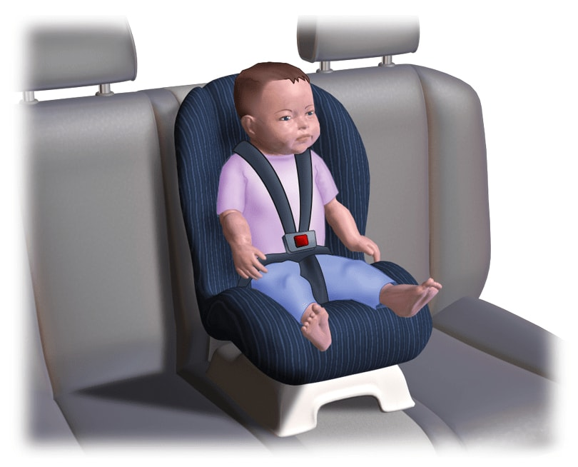 Children below 9 years old should sit on a booster seat at the rear passenger seat.