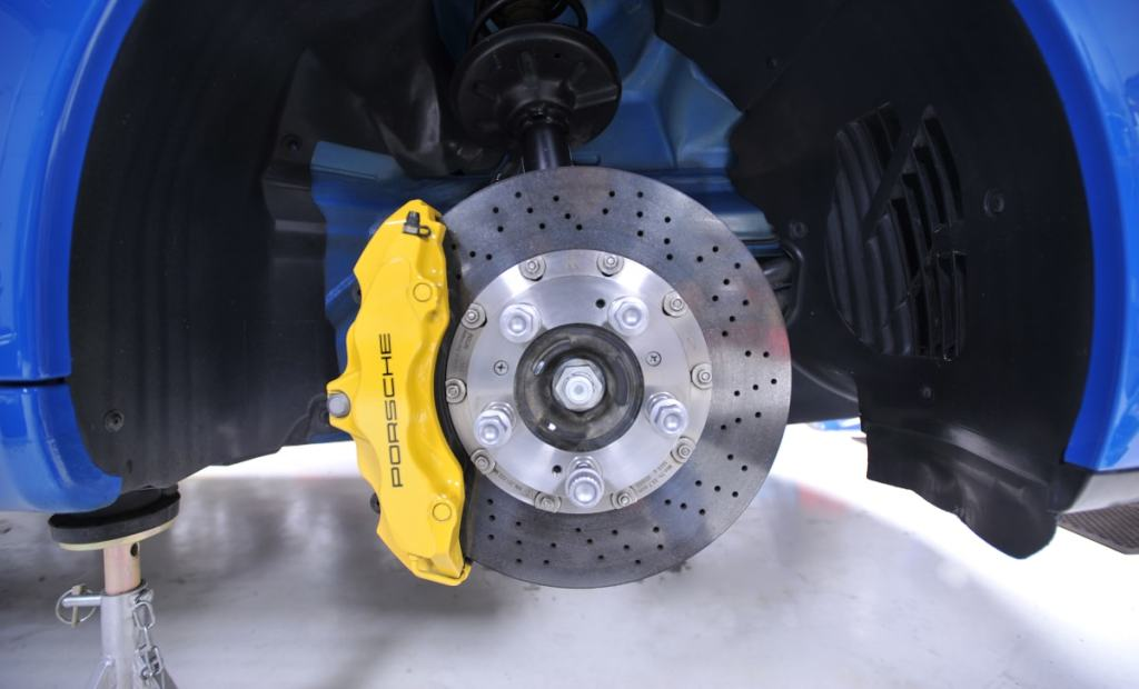 Disc brakes are commonly found on the front wheels.