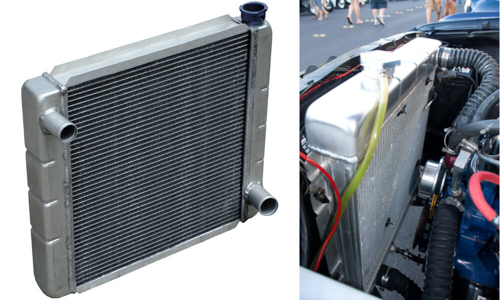 Radiator are layered aluminium tubes that maximizes its surface area. It can be found at the front of our car.