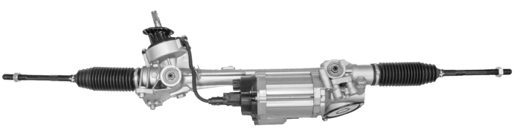 This is a electric power steering rack. Visually, you can also spot the electric motor attached to it.