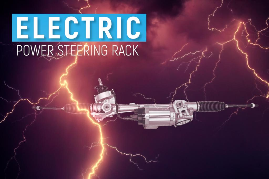 "An electric power steering rack with an intense thunderstorm background. It is a graphical play on the word ""electric""."