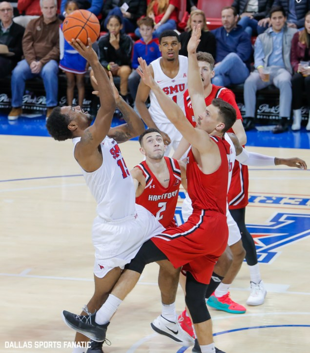 SMU forward Isiaha Mike is fouled while taking a shot during the second half of the game against Hartford on November 27, 2019 at Moody Coliseum in Dallas, Tx. (Photo by Joseph Barringhaus/Dallas Sports Fanatics)