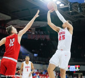 SMU forward Ethan Chargois takes a shot during the game between Southern Methodist University and Hartford on November 27, 2019 at Moody Coliseum in Dallas, Tx. (Photo by Joseph Barringhaus/Dallas Sports Fanatics)