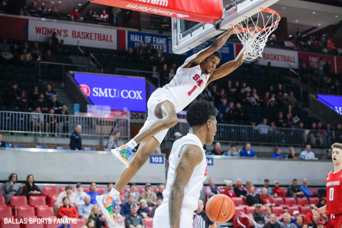SMU forward Feron Hunt slams the ball down off an alley-oop from SMU guard Kendric Davis during the game between Southern Methodist University and Hartford on November 27, 2019 at Moody Coliseum in Dallas, Tx. (Photo by Joseph Barringhaus/Dallas Sports Fanatics)