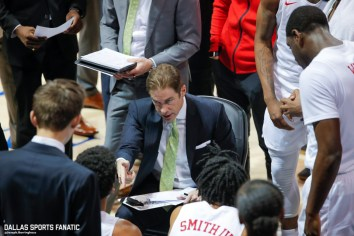 SMU Coach Tim Jankovich speaks with his team during the second half of the game against Northwestern on December 3, 2019 at Moody Coliseum in Dallas, Tx. (Photo by Joseph Barringhaus/Dallas Sports Fanatic)
