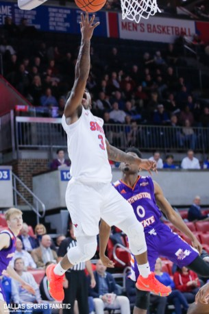 SMU guard Kendric Davis goes up for a basket during the game against Northwestern State on December 3, 2019 at Moody Coliseum in Dallas, Tx. (Photo by Joseph Barringhaus/Dallas Sports Fanatic)