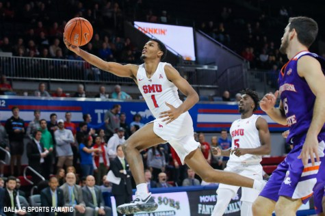 SMU forward Feron Hunt reaches out to the basket during the second half of the game against Northwestern State on December 3, 2019 at Moody Coliseum in Dallas, Tx. (Photo by Joseph Barringhaus/Dallas Sports Fanatic)