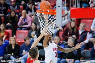 SMU guard Kendric Davis goes up for a basket during the second half of the game against Hartford on November 27, 2019 at Moody Coliseum in Dallas, Tx. (Photo by Joseph Barringhaus/Dallas Sports Fanatic)