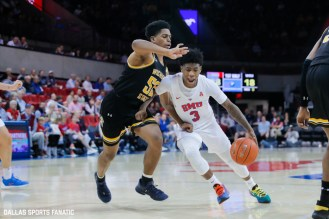 Wichita State guard Kendrick Davis (3) drives the basket during the American Athletic Conference college basketball game between the SMU Mustangs and the Wichita State Shockers on March 1, 2020 at Moody Coliseum in Dallas, Texas. (Photo by Joseph Barringhaus/Dallas Sports Fanatic)