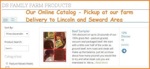 Screen shot of our online pasture grazed meat product catalog. Not an online store, local sales from our farm for now.
