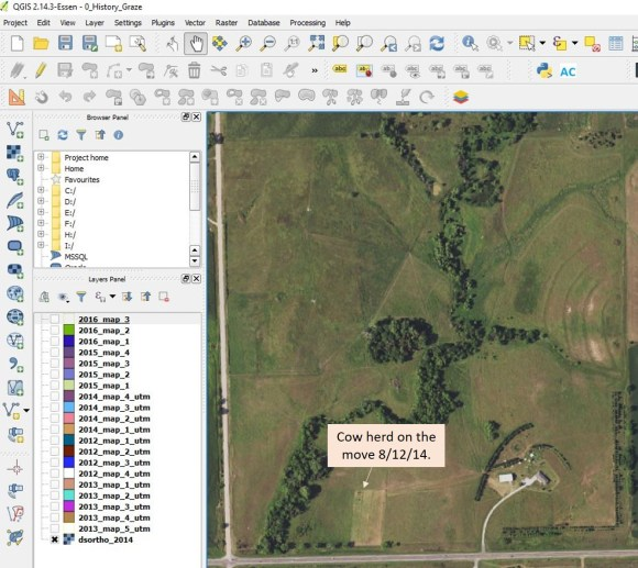 DS Family Farm Grazing Schedule in a Geographic Information System (GIS).