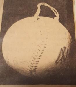 baseball cast out of yankee stadium, only ball ever ot go out of yankke stadium, Cast A Ball, Harry Aiken