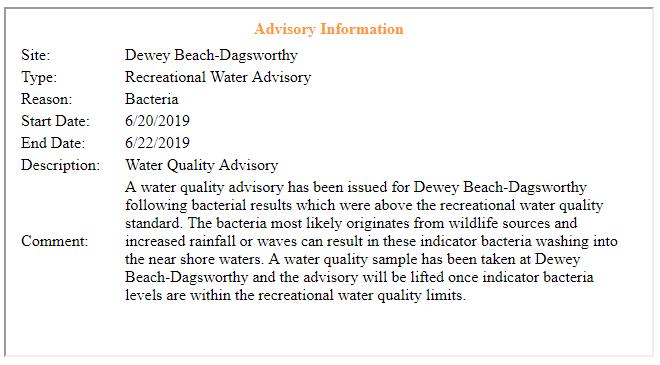 water advisory, dewey beach, dagsworthy street