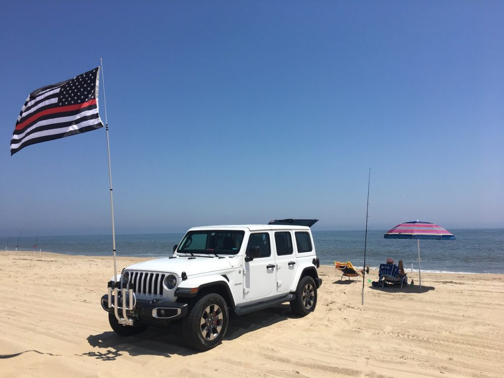 surf fishing vehicle, jeep, beach buggy, delaware, sussex county, 2018 JL Sahara Jeep, rod roack, beach driving, beach fishing, cape henlopen state park