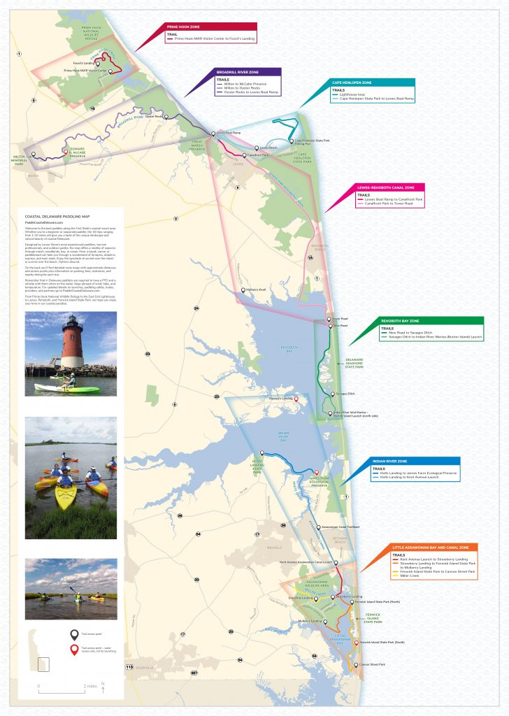 Coastal Delaware Paddling Map, sussex county, kayak map, SUP map, canoe map,