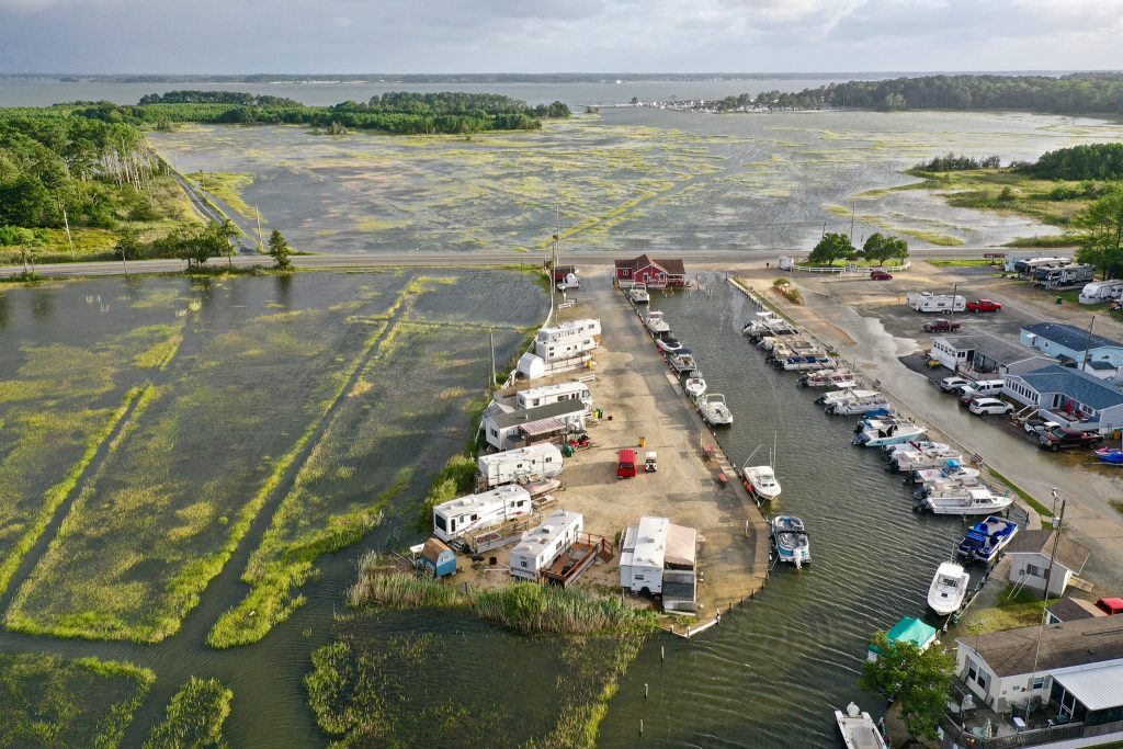 long neck road, noreaster flooding, delaware, malones, bayside bait and tackle, sussex county, inland bay flooding,